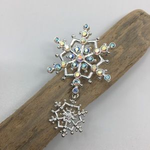 3 for $10! Silver crystal snowflake brooch